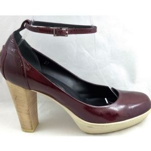 Tods 37 Heels Maroon Red Patent Leather Driving